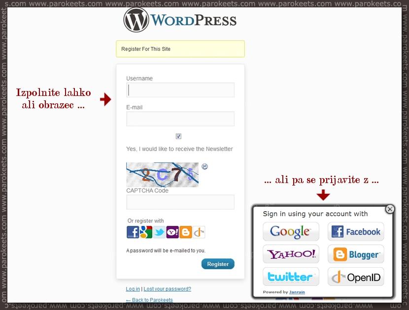 Parokeets blog WordPress Prijava