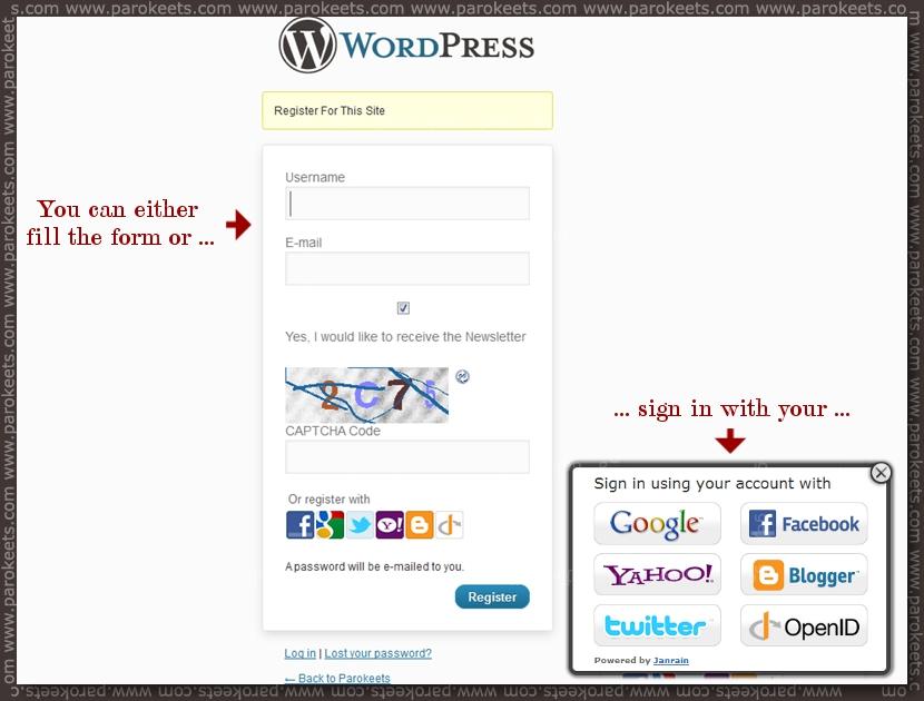 Parokeets blog - WordPress Register