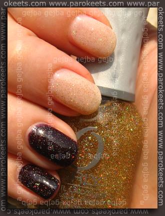 Essie Allure, Essence Devil's Flavour + Orly Prisma Gloss Gold
