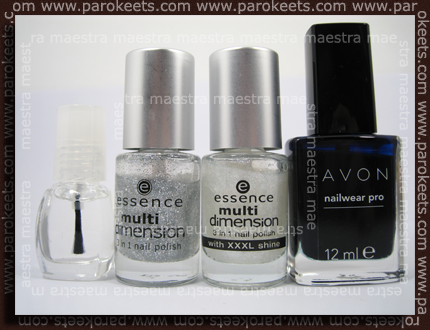 Clear Polish, Essence - Rock'n'Roll, Fashion Victim; Avon - Classic Fit