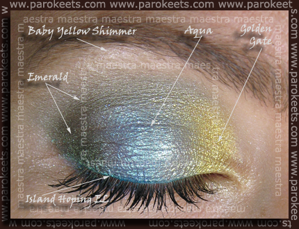 Gosh: Emerald, Aqua, Golden Gate; Sweetscents: Baby Yellow Shimmer; Essence - Into The Ocean - Island Hoping EL