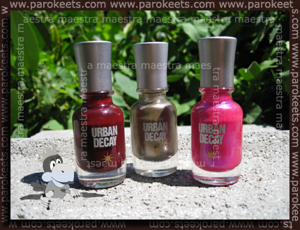Urban Decay Nail Enamel (from L to R): Brick House, Twisted and Trip