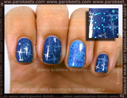 OPI – No Room For The Blues and Dating A Royal; Konad – m14 and Fauxnad – b22