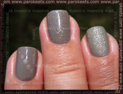 Essie Chinchilly, Silver Bullions, Matte About You layered