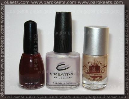 Od L proti D: Golden Rose 226, CND Eskimo Kiss in Essence Love of my life