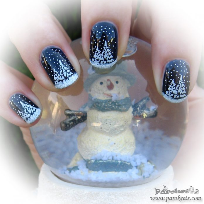 Christmas manicure snowman