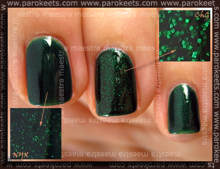 China Glaze - Emerald Sparkle Vs. NYX - Las Vegas