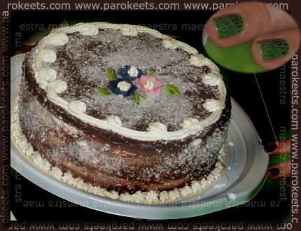Birthday cake and manicure