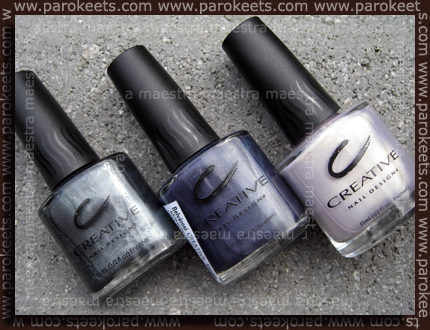 From L to R: Black Platinum, Knight's Armor, Eskimo Kiss