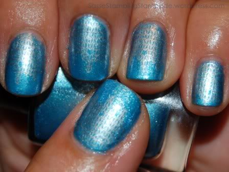 DrFrankenPolish Ice Veil with Konad m69 with CND Times Square