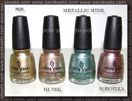China Glaze:2030, Hi-TEK, Metallic Muse, Robotika