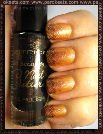 Kiko - 141 in OPI - DS Glow (sponge) + Konad IP m71 (s Catrice - Black Beauty)