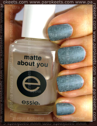 Franken - Not Concrete + Konad IP m63 (with Avon - Blue Flare) + Essie - Matte About You