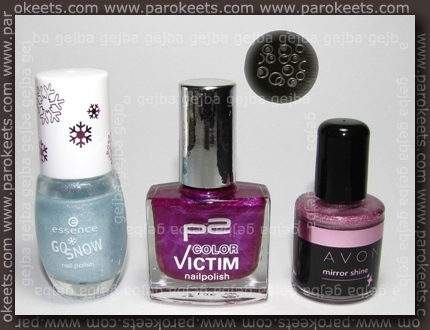 Essence Alpine Snow + p2 Stylish + Avon Polished Pink + H7