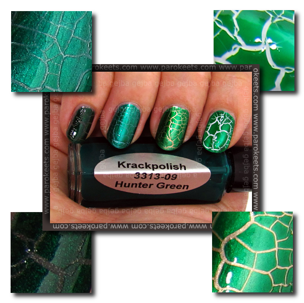 Krackpolish Hunter Green over Golden Rose 242, China Glaze 2030, China Glaze Adore, Essence Gothic Girl