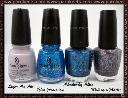 China Glaze: Light As Air, Blue Hawaiian; OPI: Absolutely Alice, Mad as a Hatter