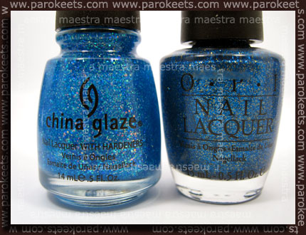 China Glaze: Blue Hawaiian, OPI: Absolutely Alice