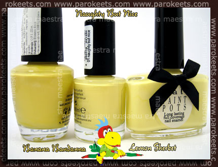 OPI - Banana Bandanna, Essence - Naughty But Nice, Ciate - Lemon Sherbet
