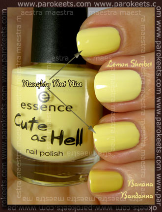 Essence - Cute As Hell - Naughty But Nice vs. Ciate - Lemon Sherbet vs. OPI - Banana Bandanna