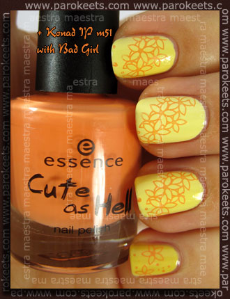 Essence - Cute As Hell - Naughty But Nice vs. Ciate - Lemon Sherbet vs. OPI - Banana Bandanna + Konad IP m51 with Bad Girl