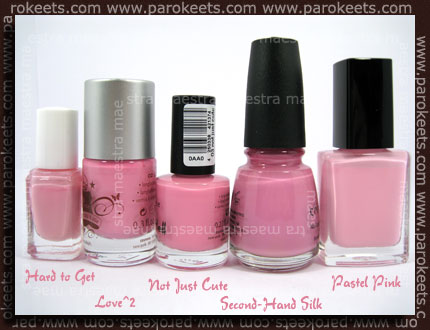 Essence - Cute As Hell - Not Just Cute vs. Love^2 vs. China Glaze - Second-Hand Silk vs. Essie - Hard To Get vs. Avon - Pastel Pink