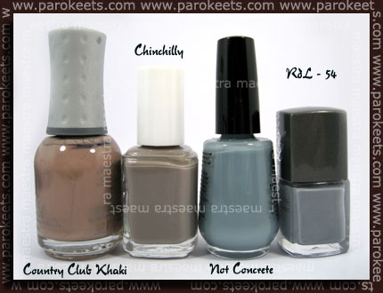Orly - Country Club Khaki, Essie - Chinchilly, Rival de Loop - 54, Franken - Not Concrete