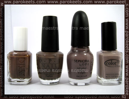 Pimerjava taupe odtenkov: Essie Mink Muffs, OPI You Don't Know Jacques, Sephora by OPI Metro Chic, Color Club High Society