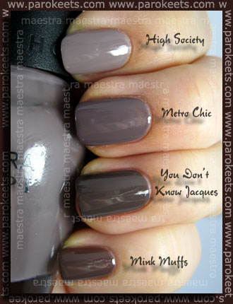 Essie Mink Muffs, OPI You Don't Know Jacques, Sephora by OPI Metro Chic, Color Club High Society
