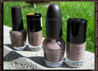 Comparison: Catrice: 200 From Dusk To Dawn vs. 220 Lost In Mud vs. OPI - You Don't Know Jacques vs. Sephora by OPI - Metro Chic