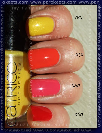 Catrice swatches: 010 Don't Feed The Birds, 030 Meet Me At Coral Island, 040 Princes For a Day, 060 Bloody Marry To Go