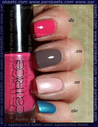 Catrice swatch: 180Hot Or Not?, 200 From Dusk To Dawn, 210 Just Married, 260 Blue's Brother