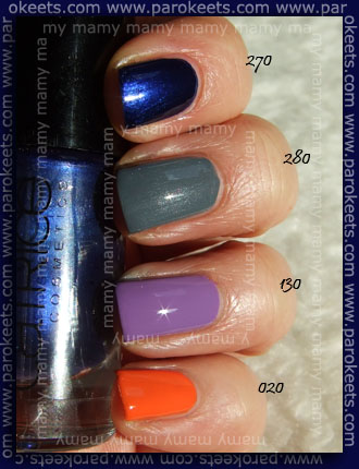 Catrice: 270 It Blue My Mind, 280 London's Weather Forecast, 130 Lucky in Lilac, 020 MAN, Go Tango