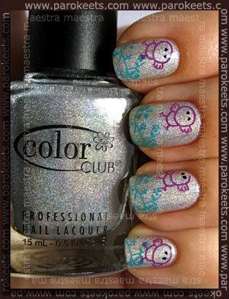 Color Club Worth The Risque, Fake Konad m10, China Glaze Custom Kicks, CND Eclectic Purple