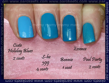 Comparison: Ciate-Holiday Blues, S-he 399, Essence-Bonnie, Essence- Pool Party