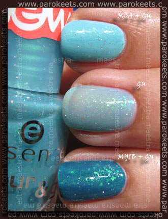 Swatch: Essie - Mint Candy Apple, Essence - Meet You In Budapest, Essence - Glisten Up!