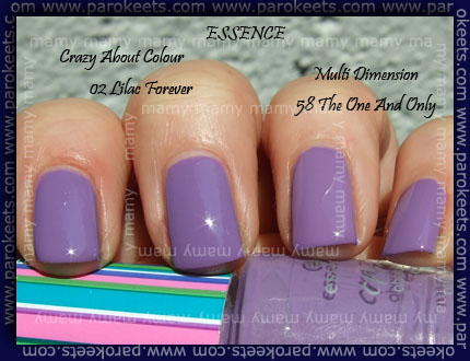 Essence The One and Only vs. Lilac Forever swatch
