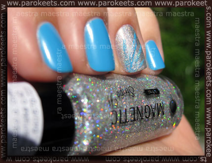 Nail Art: Magnetic: Blue Curacao, Shimmering Silver + Stripe It - Hologram