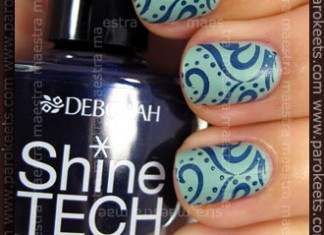 Swatch: Deborah Sense Tech 100% Mat 04 + Shine Tech - 35 with Konad IP m64 + make up