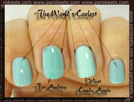 Comparison: Essence - The World's Coolest vs. China Glaze - For Audrey vs. Essie - Mint Candy Apple