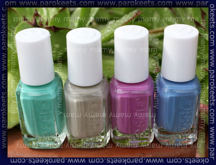 Essie- The Resort Collection, swatches bottles