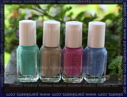 Essie - The resort Collection, swatches bottles