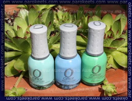 Orly: Gumdrop, Snowcone, Mint Mojito, bottles