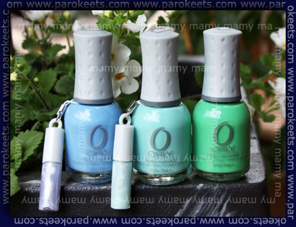Orly: Snowcone, Gumdrop, Mint Mojito, swatches bottles