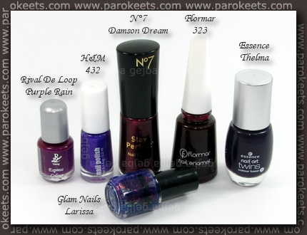 Rival De Loop - Purple Rain; H&M - 432; No 7 - Damson Dream; Flormar 323; Essence - Thelma; Glam Nails - Larissa