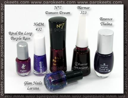 Rival De Loop - Purple Rain; H&M - 432; No 7 - Damson Dream; Flormar 323; Essence - Thelma; Glam Nails - Larissa