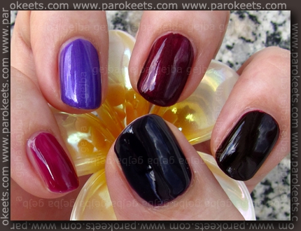 Rival De Loop - Purple Rain; H&M - 432; No 7 - Damson Dream; Flormar 323; Essence - Thelma