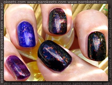 Rival De Loop - Purple Rain; H&M - 432; No 7 - Damson Dream; Flormar 323; Essence - Thelma; layered with Glam Nails - Larissa