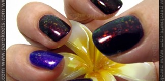 Rival De Loop - Purple Rain; H&M - 432; No 7 - Damson Dream; Flormar 323; Essence - Thelma; layered with Glam Nails - Larissa