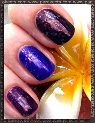 Rival De Loop - Purple Rain; H&M - 432; No 7 - Damson Dream; layered with Glam Nails - Larissa
