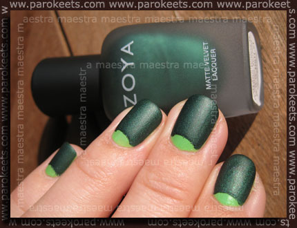 Half moon manicure: China Glaze - Entourage and Zoya - Veruschka